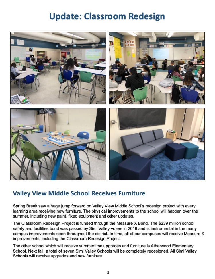 Simi Valley classrooms with new furniture